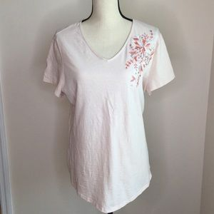 Light Peach embroidered Chico's Top size 2(12)